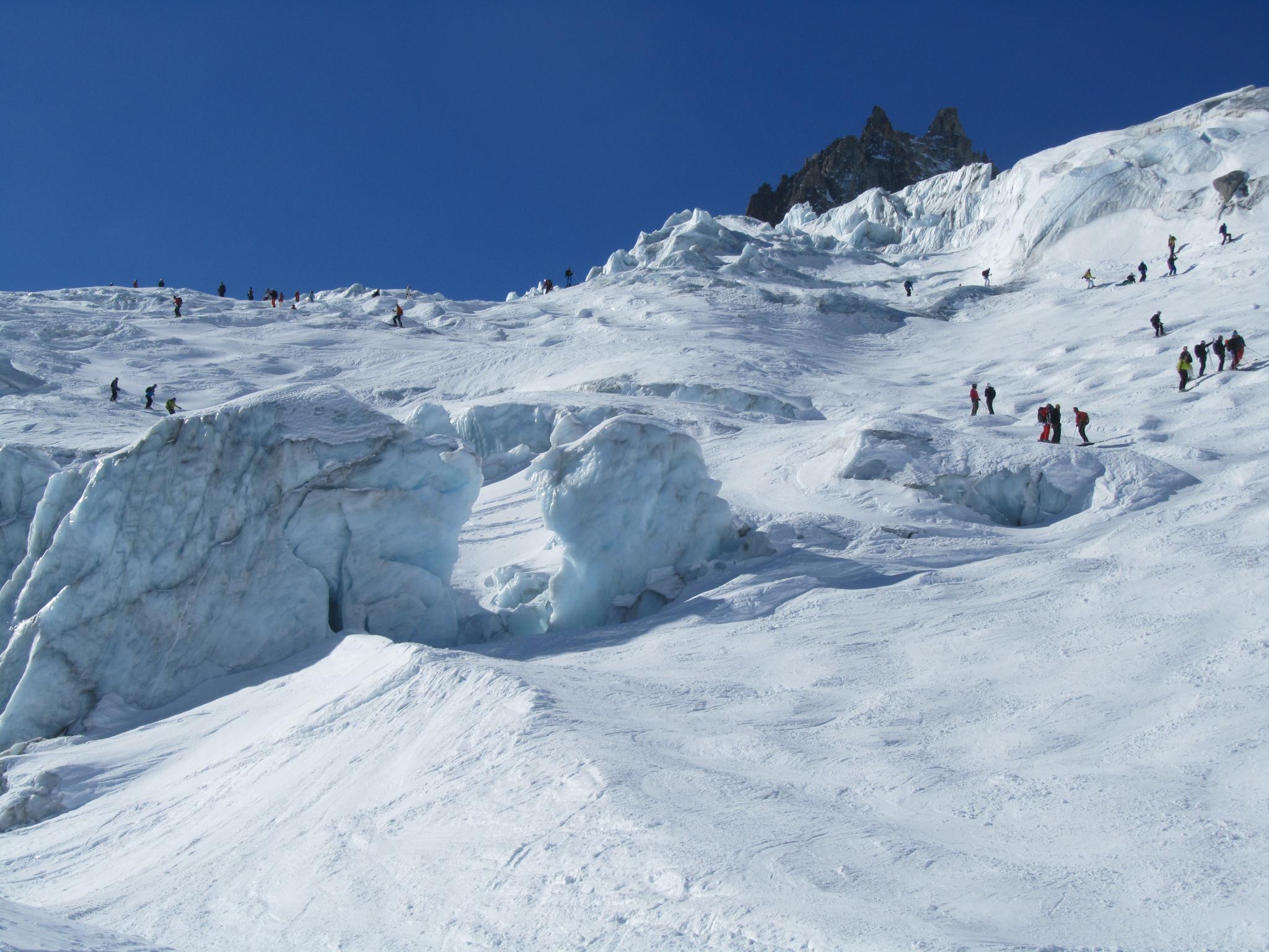 Trasa lodowcem przez Vallee Blanche