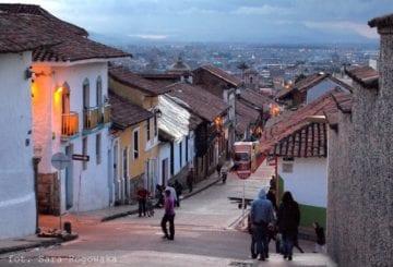 Ulice Bogoty zmierzch Kolumbia