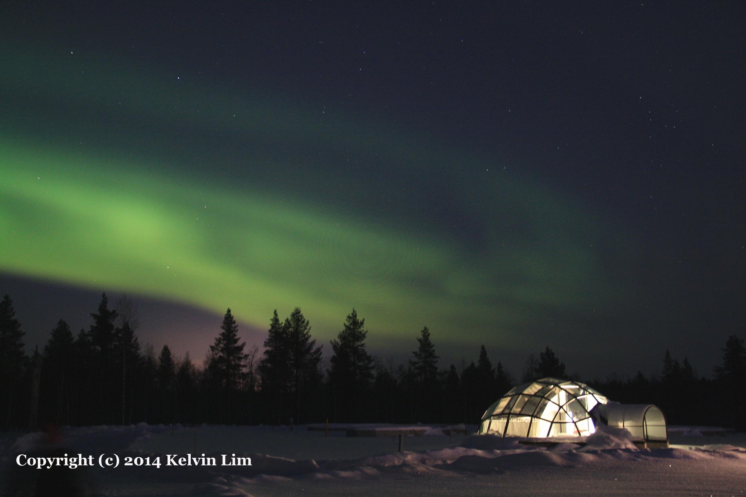 zorza polarna noc finlandia hotel igloo