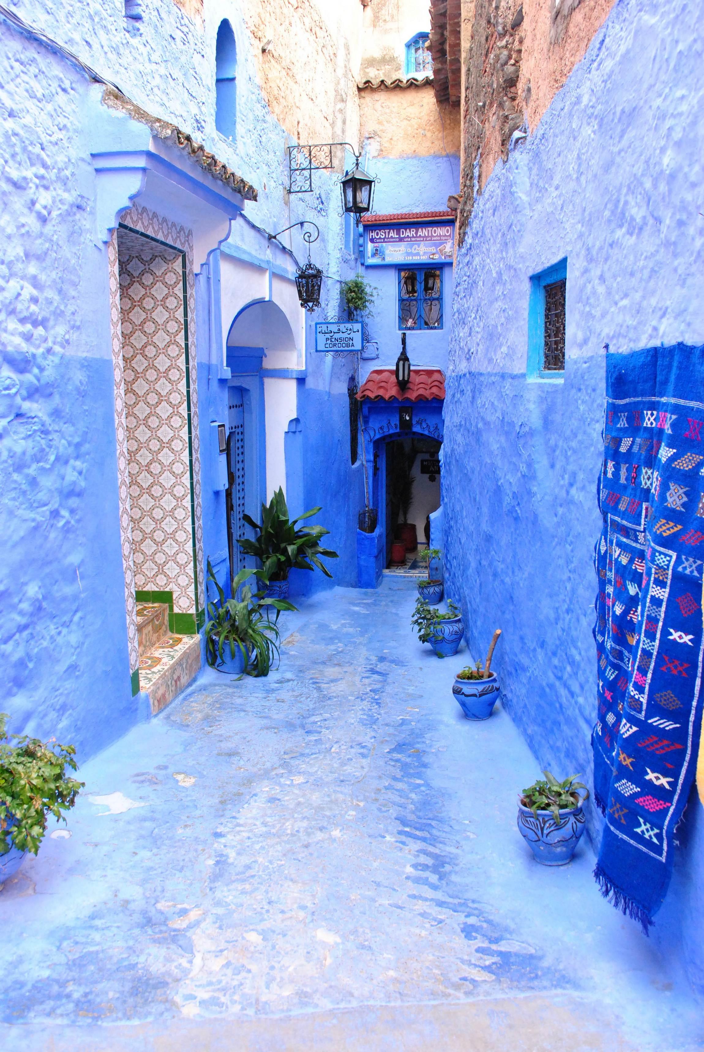 Chefchaouen Maroko Afryka podróże niebieskie miasto. Maroko - wakacje