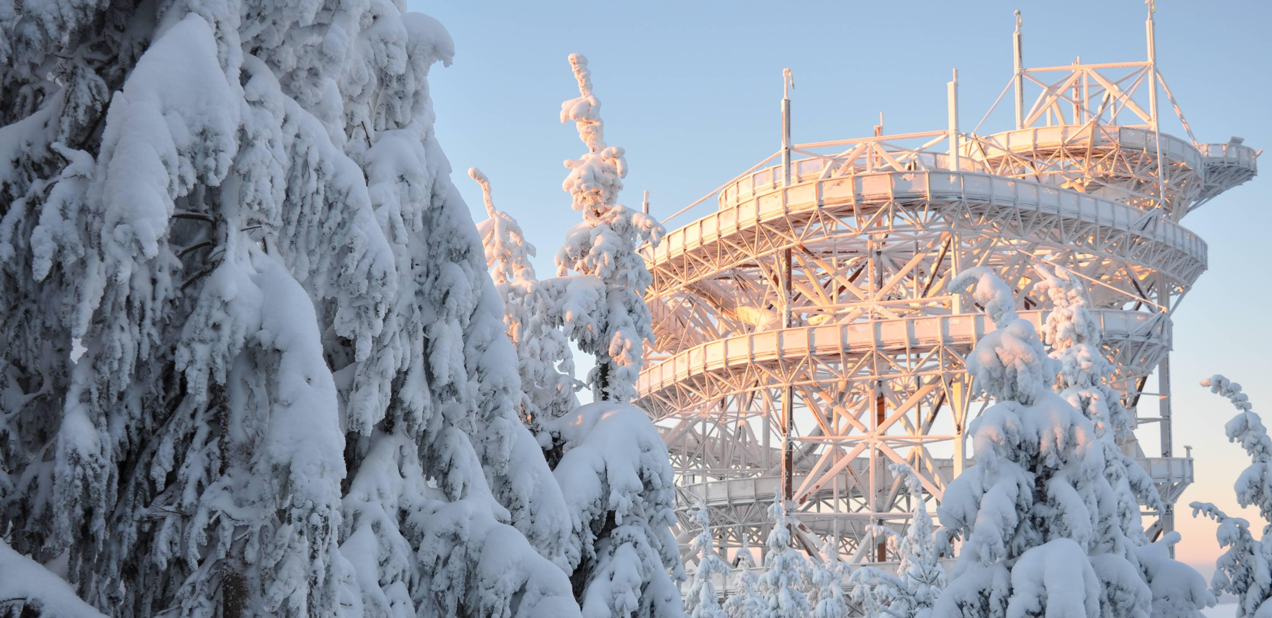 Platforma widokowa czechy zima panorama widoki