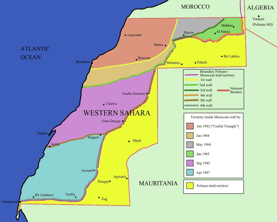 Mapa Sahara Zachodnia Maroko mur