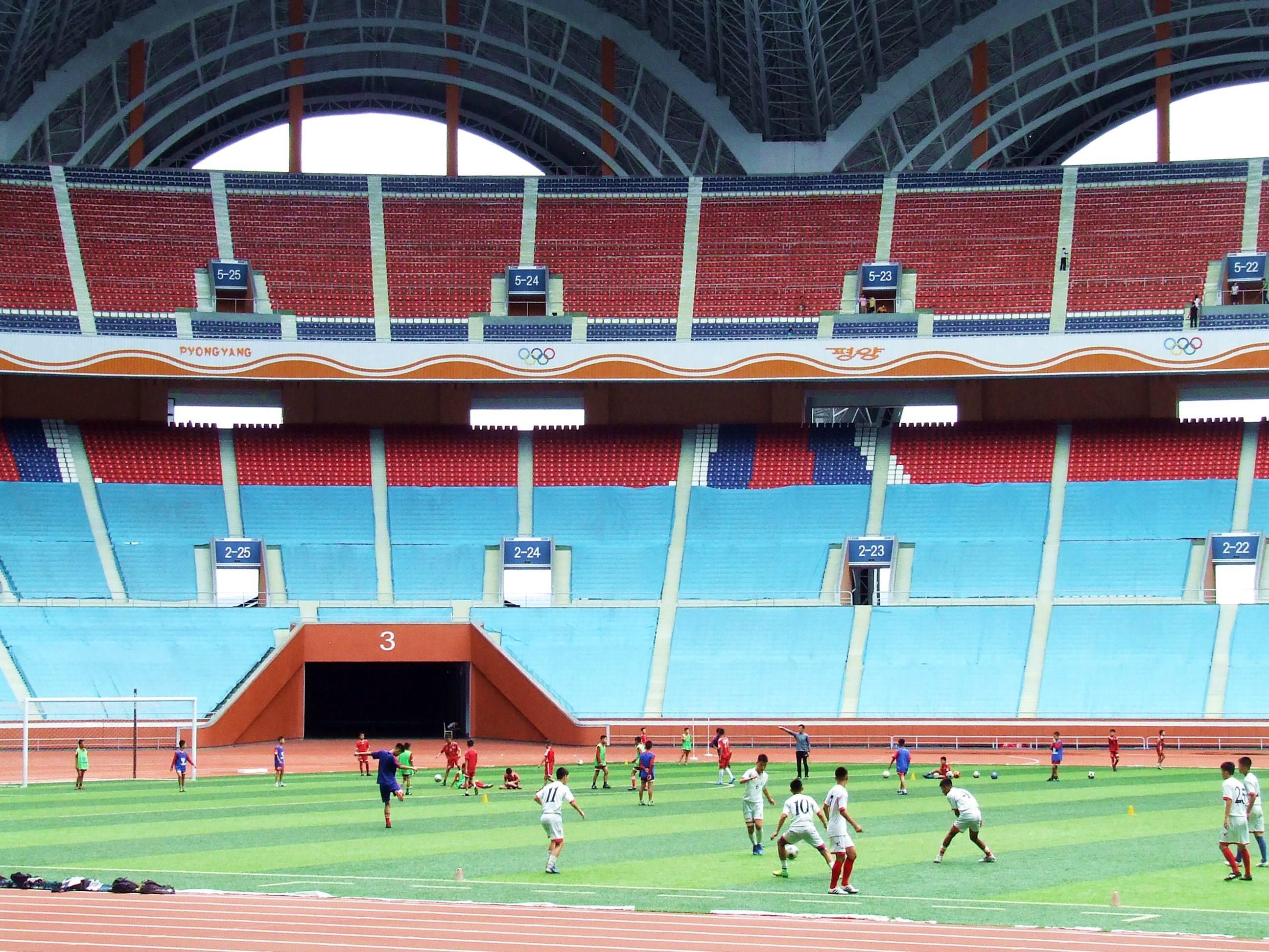 Trening na stadionie w Korei Północnej