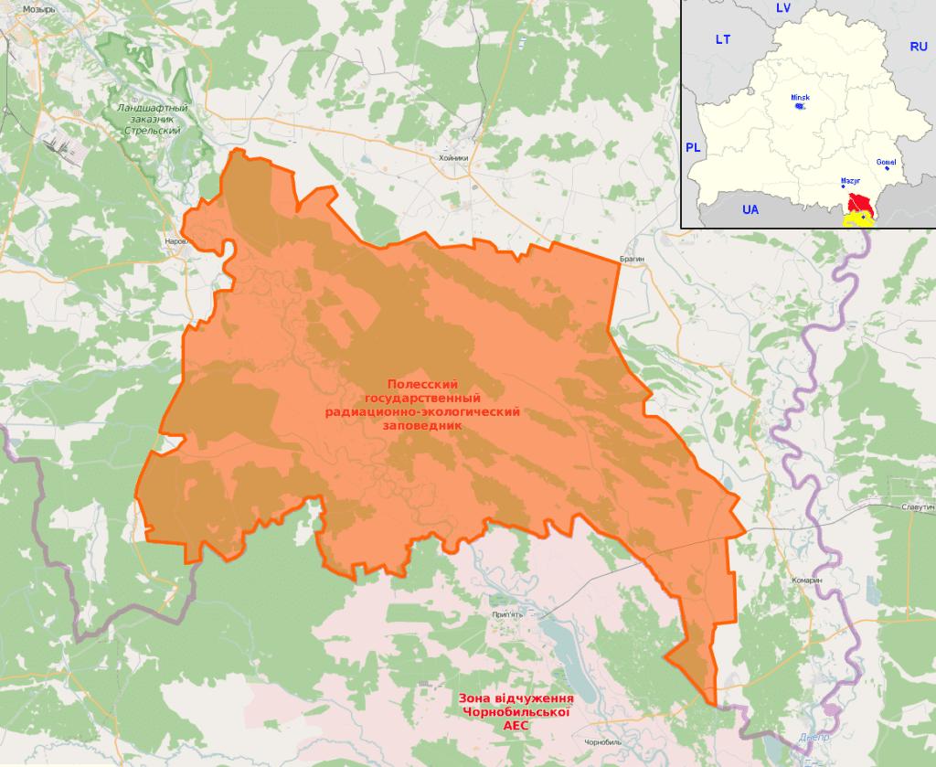 Poleski Państwowy Rezerwat Radiacyjno - Ekologiczny mapa - Białoruś - zona