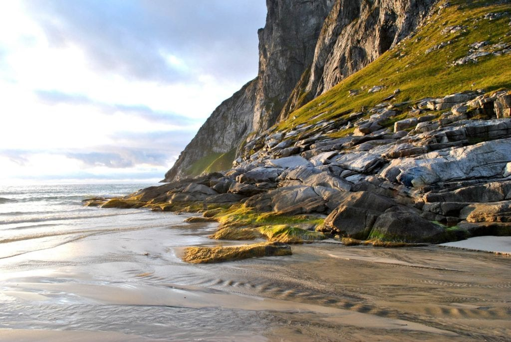 Plaża Kvalvika w Norwegii