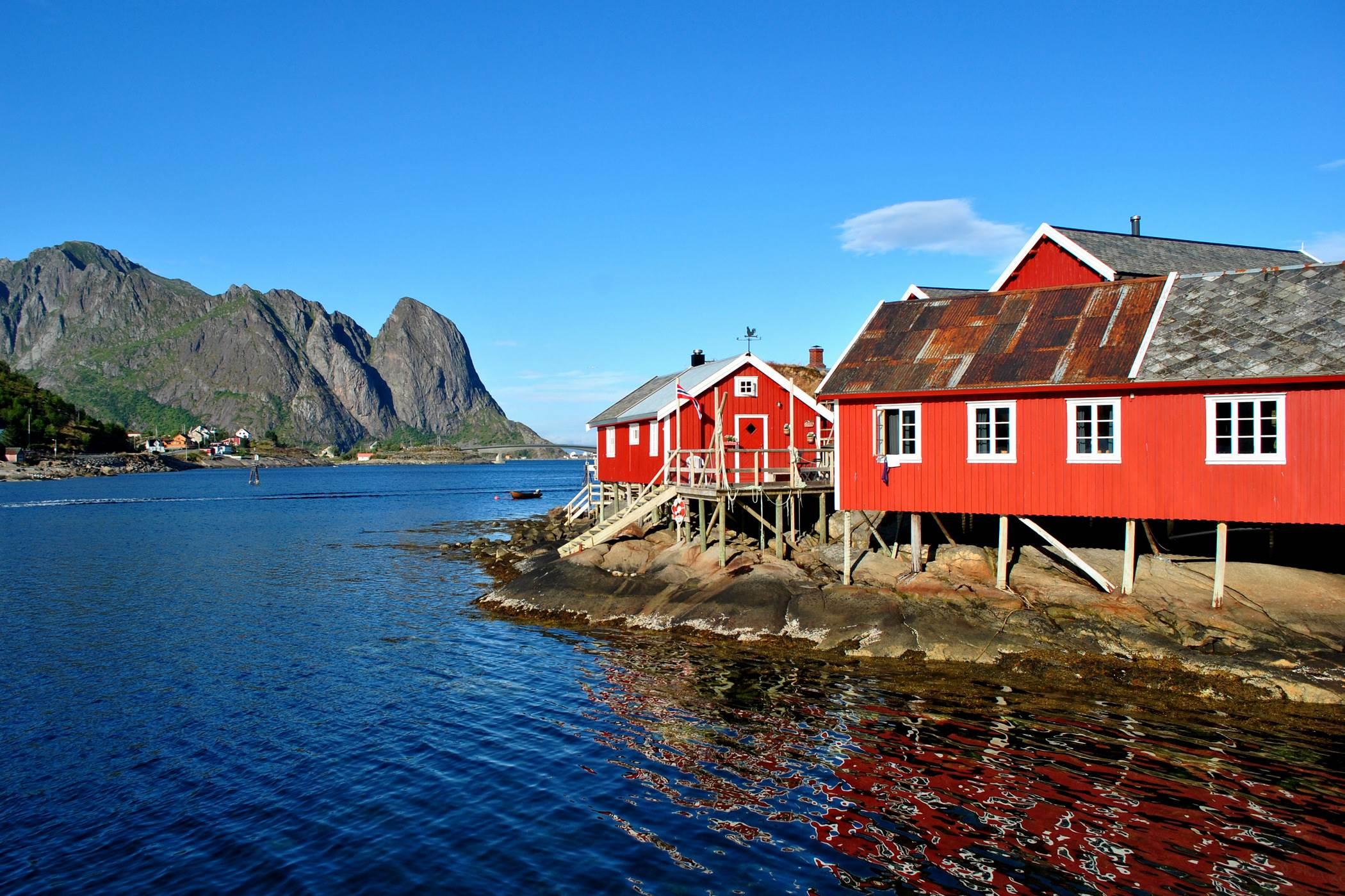 Czerwone domy, Lofoty, Norwegia