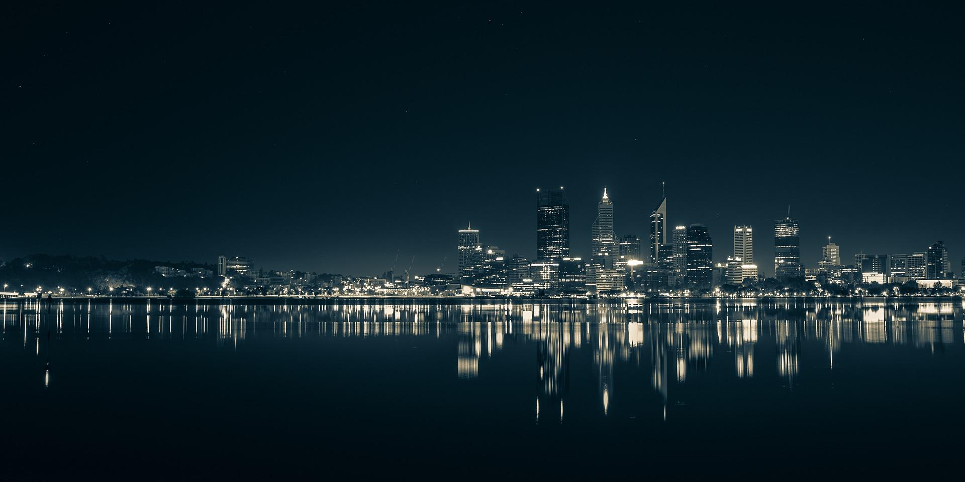 Nocna Panorama Perth, Australia